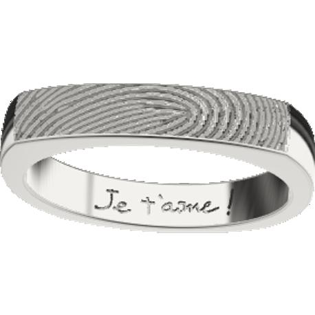 Personalized ring, 4.0 mm wide, , cast in sterling silver 925, with 1 fingerprint and 1 handwriting.