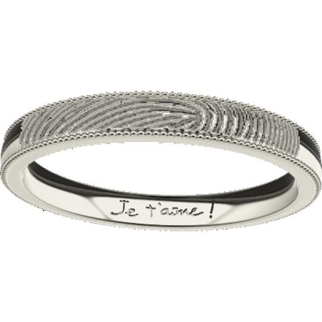 Personalized wedding band, 3.0 mm wide,, cast in 14k white gold, with 1 fingerprint and 1 handwriting.