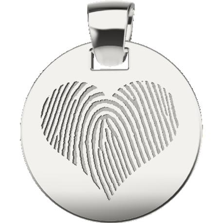 Personalized pendant, 15.0 mm diameter,, cast in sterling silver 925, with 1 fingerprint and 1 handwriting.
