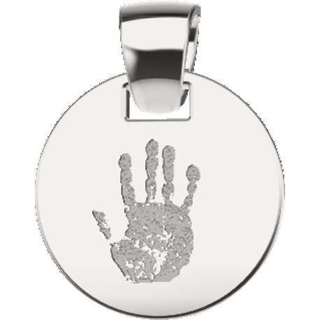 Personalized pendant, 12.0 mm diameter,, cast in sterling silver 925, with 1 handprint and 1 handwriting.