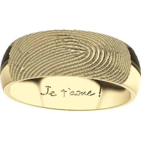 Personalized wedding band, 7.0 mm wide,, cast in 10k yellow gold, with 1 fingerprint and 1 handwriting.