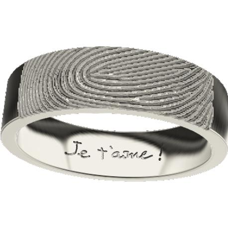 Personalized wedding band, 6.0 mm wide,, cast in 10k white gold, with 1 fingerprint and 1 handwriting.