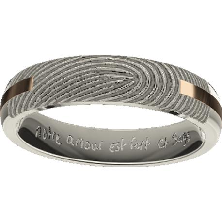 Personalized wedding band, 4.0 mm wide,, cast in 10k white and rose gold, with 1 fingerprint and 1 handwriting.