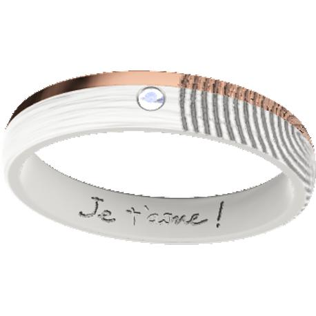 Personalized wedding band, 4.0 mm wide,, cast in sterling silver 925 and in 10k rose gold, with 1 natural round diamond of 1.5 mm,, 1 fingerprint and 1 handwriting.