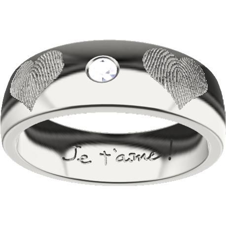 Personalized ring, 6.0 mm wide, , cast in sterling silver 925, with 1 natural round diamond of 2 mm,, 6 fingerprints and 1 handwriting.