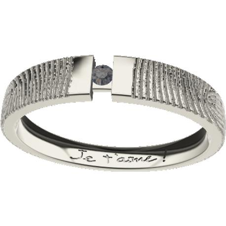 Personalized wedding band, 7.0 mm wide, , cast in 10k white gold, with 1 natural round black diamond of 3 mm,, 2 fingerprints an