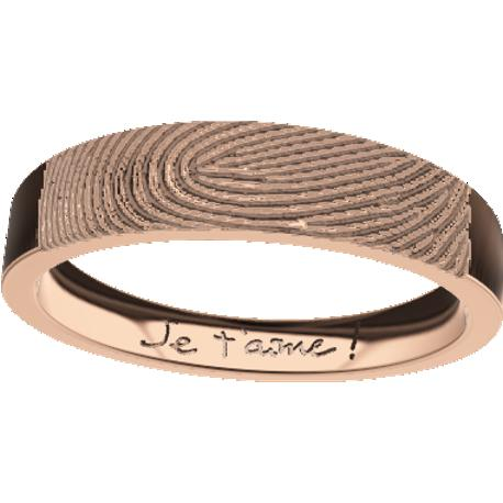 Personalized wedding band, 4.8 mm wide,, cast in 18k rose gold, with 1 fingerprint and 1 handwriting.