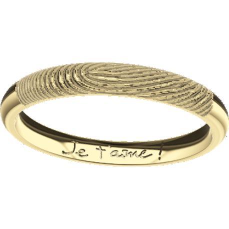 , de 5.0 mm de largeur, , coulée en or blanc de 10 carats, avec 1 empreinte digitale et 1 écriture manuscrite.