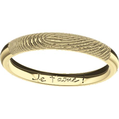 Personalized wedding band, 3.0 mm wide, , cast in 10k yellow gold, with 1 fingerprint and 1 handwriting.