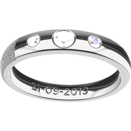 Personalized wedding band, 3.5 mm wide, finger size 8, cast in platinum 900, with 1 natural round diamond of 3 mm and 2 of 2 mm,, 1 typed text and 1 fingerprint.