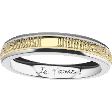 Personalized wedding band, 4.0 mm wide, , cast in platinum 900 and in 10k yellow gold, with 2 fingerprints and 1 handwriting.