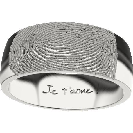 Personalized wedding band, 8.0 mm wide, , cast in sterling silver 925, with 1 fingerprint and 1 handwriting.