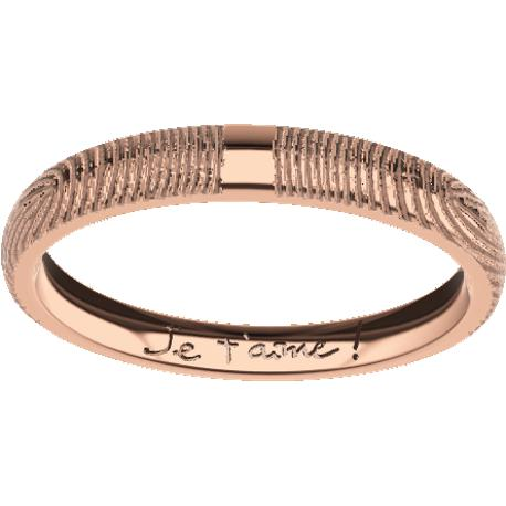 Personalized wedding band, 3.0 mm wide, , cast in 10k rose gold, with 2 fingerprints and 1 handwriting.
