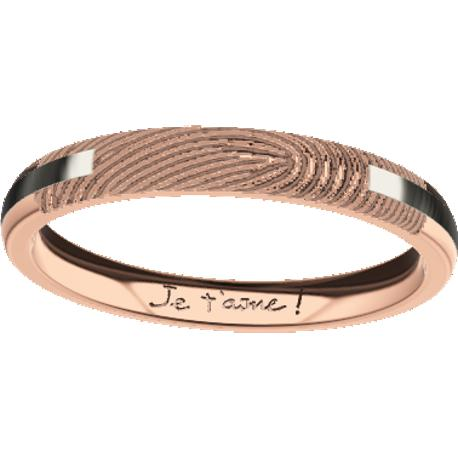Personalized wedding band, 3.0 mm wide, , cast in 10k rose gold and in platinum 900, with 1 fingerprint and 1 handwriting.