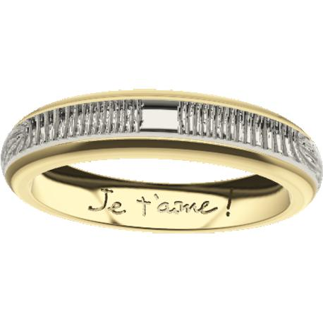 Personalized wedding band, 4.0 mm wide, , cast in 10k yellow and white gold, with 2 fingerprints and 1 handwriting.