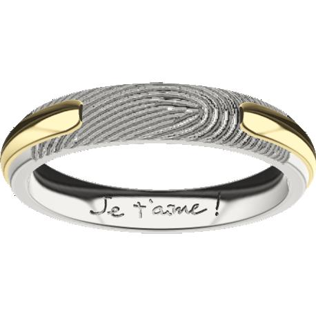 Personalized wedding band, 4.0 mm wide, , cast in 10k white and yellow gold, with 1 fingerprint and 1 handwriting.