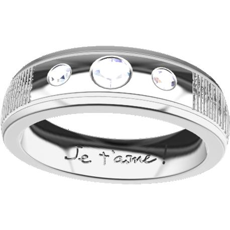 Personalized wedding band, 6.1 mm wide, , cast in 10k white gold, with 1 natural round diamond of 3 mm and 2 of 2 mm, 2 fingerpr