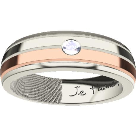 Personalized wedding band, 5.5 mm wide,, cast in 10k white and rose gold, with 1 natural round diamond of 2.5 mm,, 1 fingerprint and 1 handwriting.