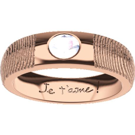 Personalized wedding band, 5.0 mm wide, , cast in 10k rose gold, with 1 natural round diamond of 4 mm,, 2 fingerprints and 1 handwriting.