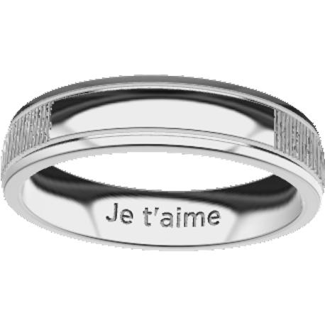 Personalized wedding band, 5.0 mm wide, , cast in stainless steel 316, with 1 typed text and 2 fingerprints.