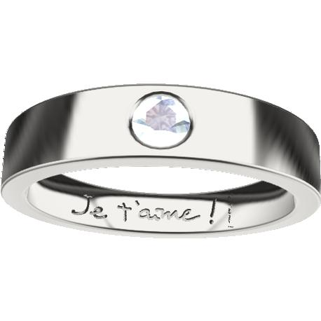 Personalized ring, 4.5 mm wide, , cast in sterling silver 925, with 1 natural round aquamarine of 3 mm,, 2 handwritings.