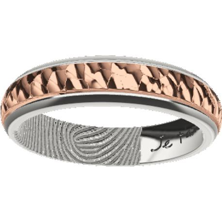 Personalized wedding band, 5.0 mm wide, , cast in sterling silver 925 and in 10k rose gold, with 1 fingerprint and 1 handwriting.