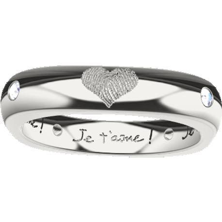 Personalized ring, 4.0 mm wide, , cast in sterling silver 925, with 4 natural round diamonds of 1.5 mm,, 4 fingerprints and 4 handwritings.