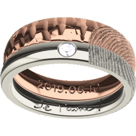 Personalized wedding band, 7.0 mm wide, , cast in 10k white and rose gold, with 1 natural round diamond of 2 mm, 1 typed text, 2 fingerprints, 1 fingerprint and 1 handwriting.