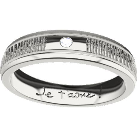 Personalized wedding band, 4.3 mm wide, , cast in sterling silver 925, with 1 natural round diamond of 1.5 mm, 2 fingerprints and 1 handwriting.