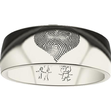 Personalized ring, 6.0 mm wide, , cast in 10k white gold, with 3 fingerprints, 2 drawings and 2 handwritings.