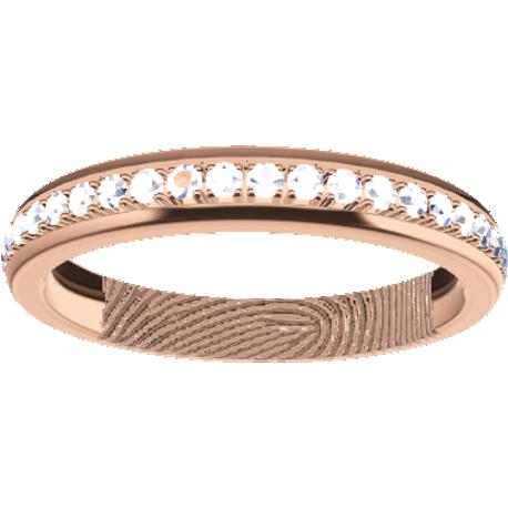 Personalized wedding band, 3.0 mm wide, , cast in 10k rose gold, with 45 lab grown round diamonds of 1.3 mm,, 1 fingerprint.