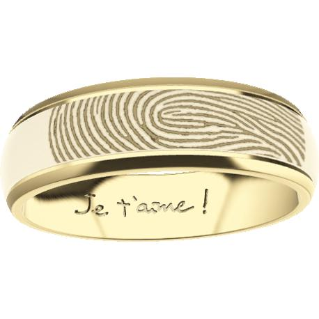 Personalized wedding band, 4.0 mm wide, , cast in 10k yellow gold, with 1 fingerprint and 1 handwriting.