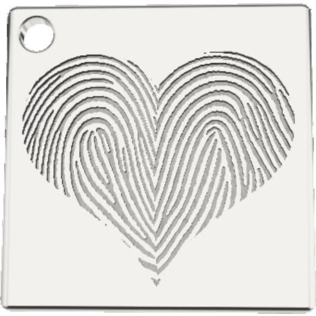 Personalized charm, 16.0 mm by 16.0 mm, cast in sterling silver 925, with 4 fingerprints.