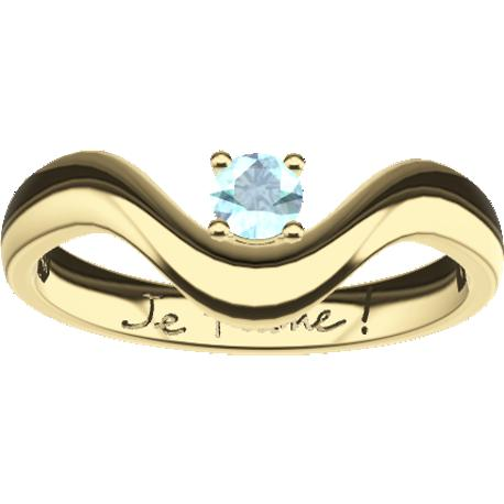 Personalized ring, 8.3 mm wide, , cast in 14k yellow gold, with 1 natural round alexandrite of 3 mm,, 1 handwriting.
