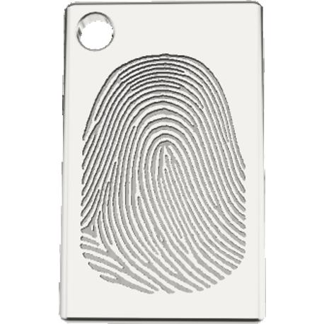 Personalized charm, 10.0 mm by 16.0 mm, cast in sterling silver 925, with 1 fingerprint and 1 handwriting.