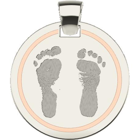 Personalized pendant, 18.0 mm diameter,, cast in 10k white and rose gold, with 2 footprints and 1 handwriting.