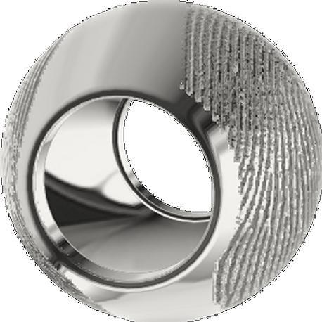 Breloque personnalisée, 11.5 mm de diamètre coulé en argent sterling 925, avec 2 empreintes digitales.