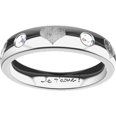 Personalized ring, 4.0 mm wide, , cast in platinum 900, with 2 natural round diamonds of 2 mm,, 6 fingerprints and 1 handwriting.