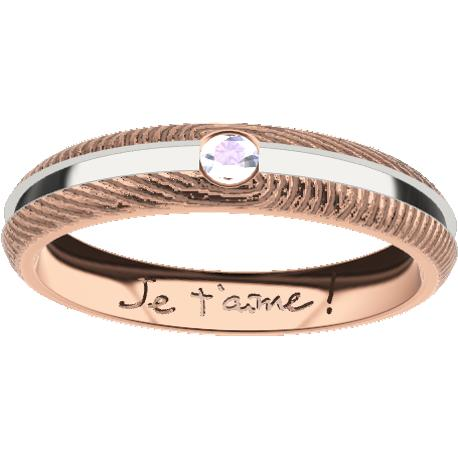 Personalized ring, 4.5 mm wide, , cast in sterling silver 925, plated in 10k rose gold, with 1 moissanite round diamond of 3 mm, 2 fingerprints and 1 handwriting.