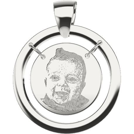Personalized pendant, 18.0 mm diameter,, cast in sterling silver 925, with 1 picture and 1 handwriting.