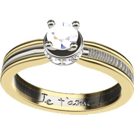 Personalized engagement ring, 3.5 mm wide, , cast in 14k white and yellow gold, with 9 natural round diamonds of 1.3 mm and 1 of 4.0 mm, 1 fingerprint and 1 handwriting.