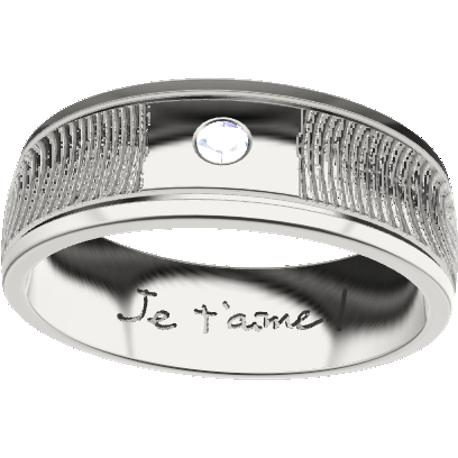 Personalized wedding band, 6.0 mm wide, , cast in sterling silver 925, with 1 natural round diamond of 2 mm, 2 fingerprints and 1 handwriting.