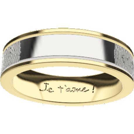 Personalized wedding band, 6.0 mm wide, , cast in 10k yellow gold and in sterling silver 925, with 2 fingerprints and 1 handwriting.