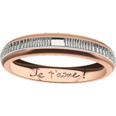 Personalized wedding band, 3.5 mm wide, , cast in 10k rose gold and in sterling silver 925, with 2 fingerprints and 1 handwriting.