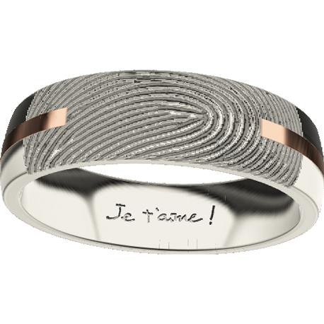 Personalized wedding band, 6.0 mm wide, , cast in 14k white gold and in 18k rose gold, with 1 fingerprint and 1 handwriting.